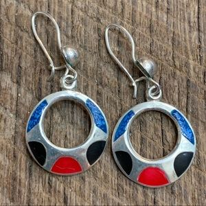 Jewelry - Sterling Silver Inlaid Circle Earrings